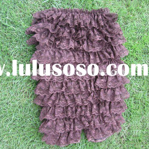 Coffee Ruffle Lace Posh Petti Rompers/lace Petti Rompers for Girls