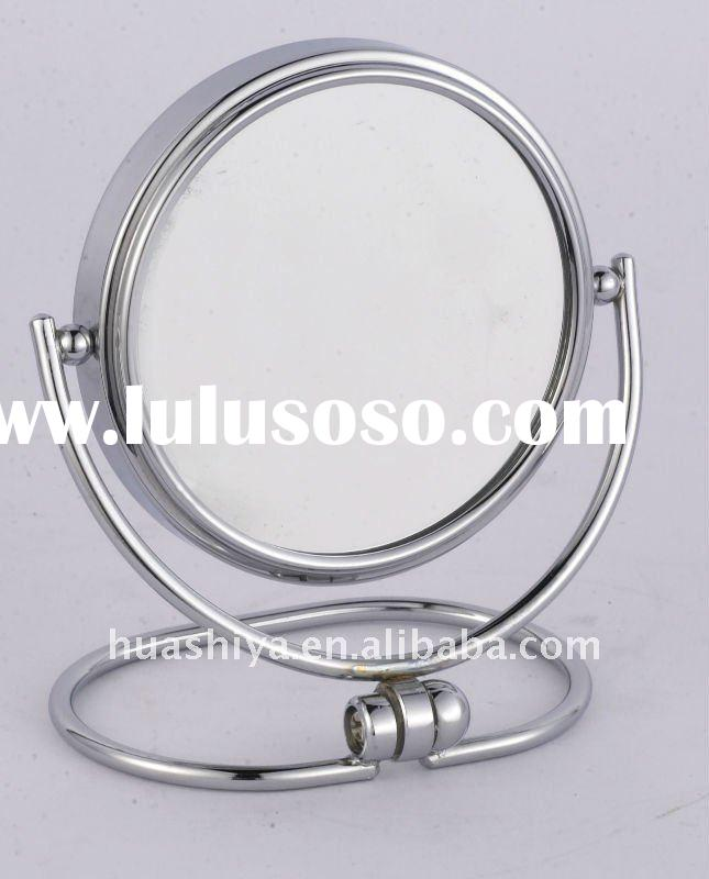 Double side metal magnifying make up cosmetic foldable and extendable free table standing mirror