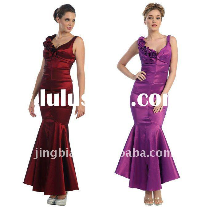 Elegant Evening dress with a flower embroidered strap 2011 Designer Mermaid Party Dress ED463