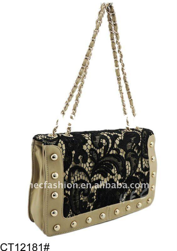 Elegant Style Lady Fashion Handbag With Lace Trim