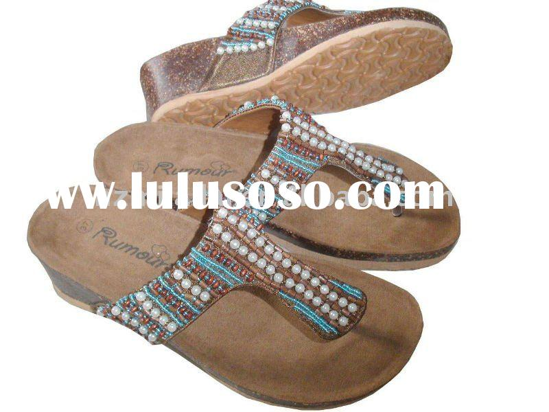 Fashion Summer slippers, Ladies' Bohemian Slippers with Beads Decoration