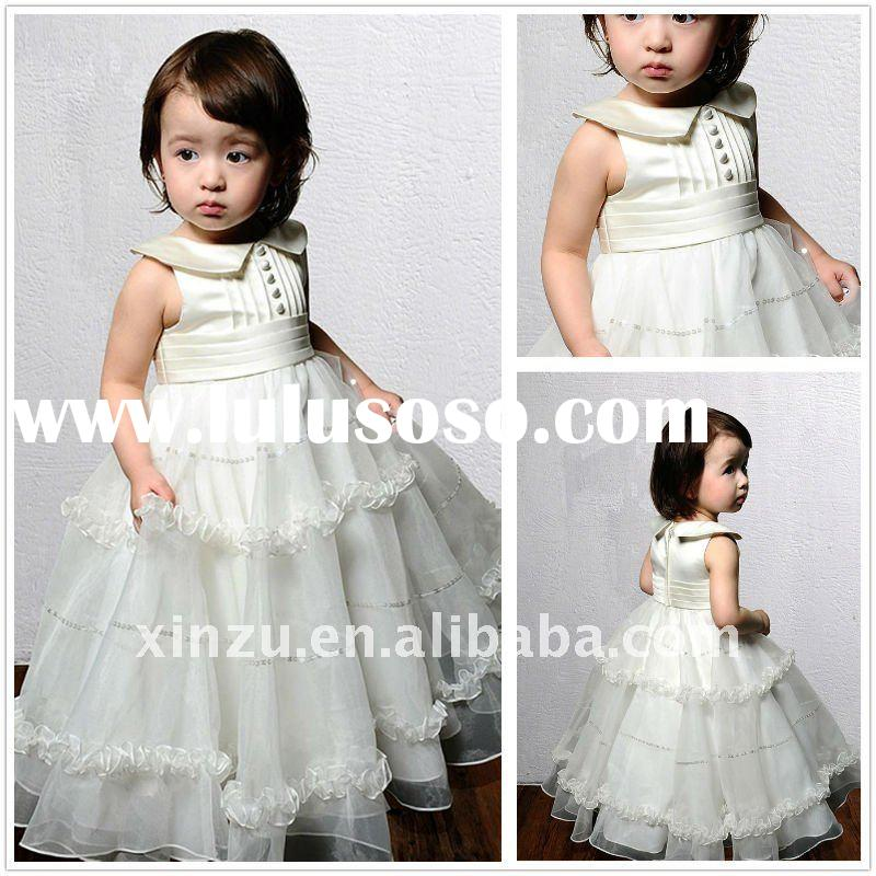 Funky Style High Collar Layered Organza Princess Button Baby Flower Girl Dress--FGD5048