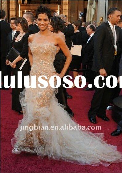 Halle Berry 2011 Oscar Sweep Train Sweetheart Mermaid Strapless Tulle Evening Dress Red Carpet dress