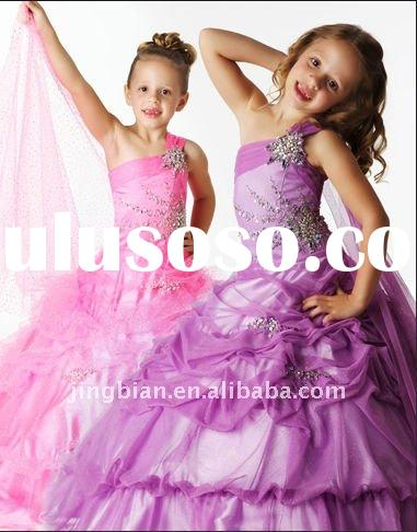 Hot Sell one shoulder knockout Fabulous Flower Girls Dresses 2012 Children party dresses Kids Party