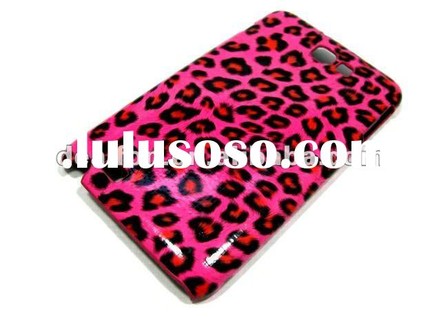 Hot pink! For samsung galaxy note i9220 N-GT7000 Leopard Pattern Leather Skin Hard Plastic case
