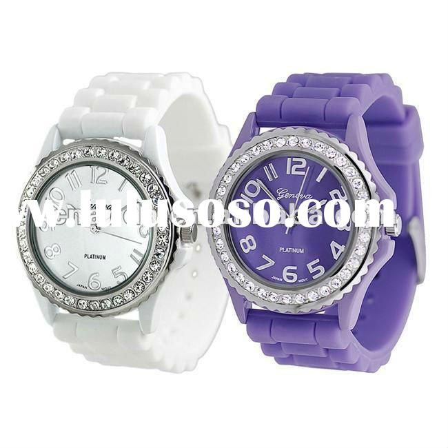 Hot-sale Silicone Crystal Geneva Watch/promotional gift watch