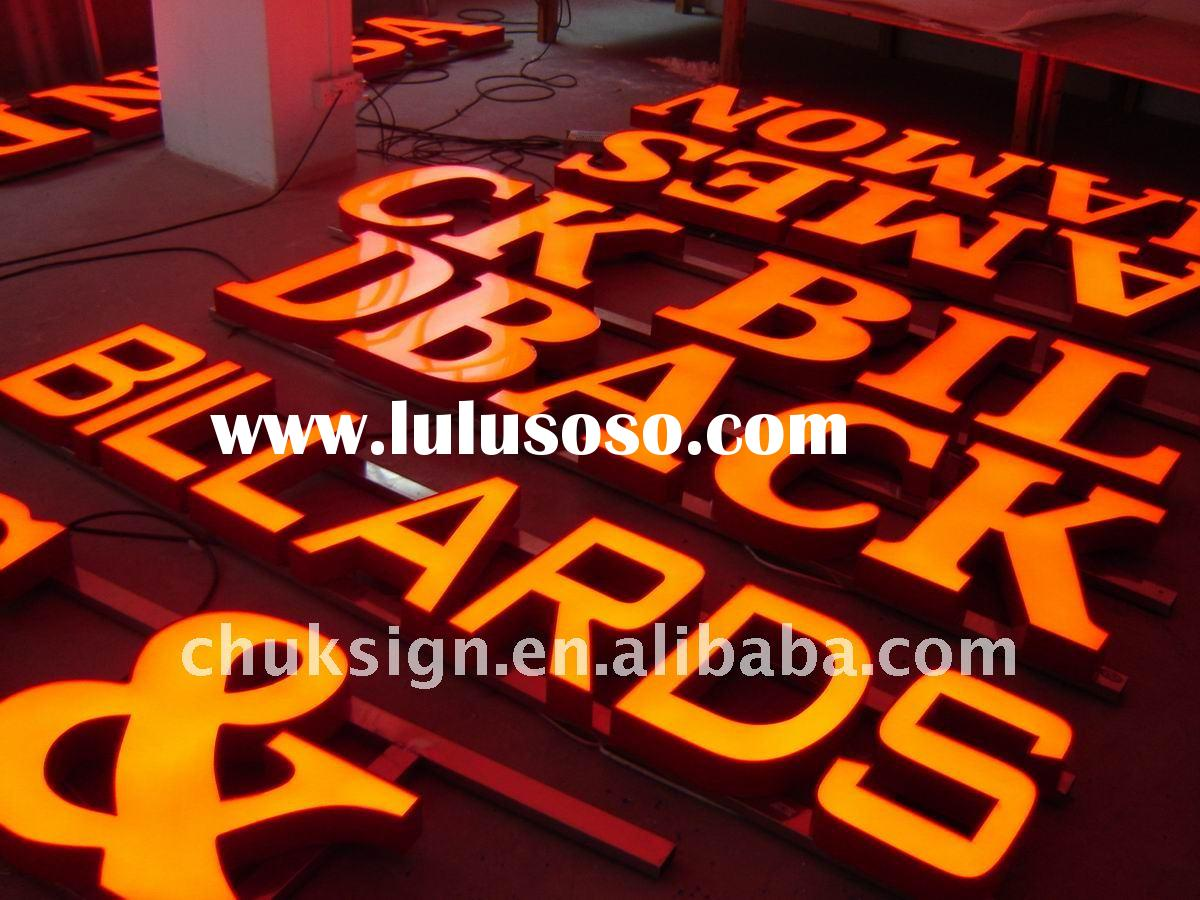 LED channel letter signage with aluminum track for installation for outdoor used.