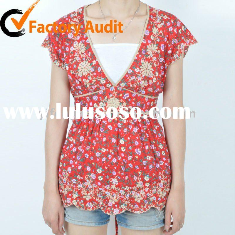 Lady Floral Printed Summer Cotton Blouse