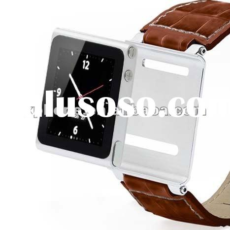 Leather wrist watch band for ipod nano 6