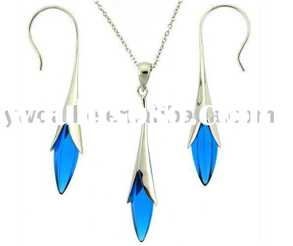 Light Blue Crystal Necklace And Earring Jewelry Set(CSNB-2034)