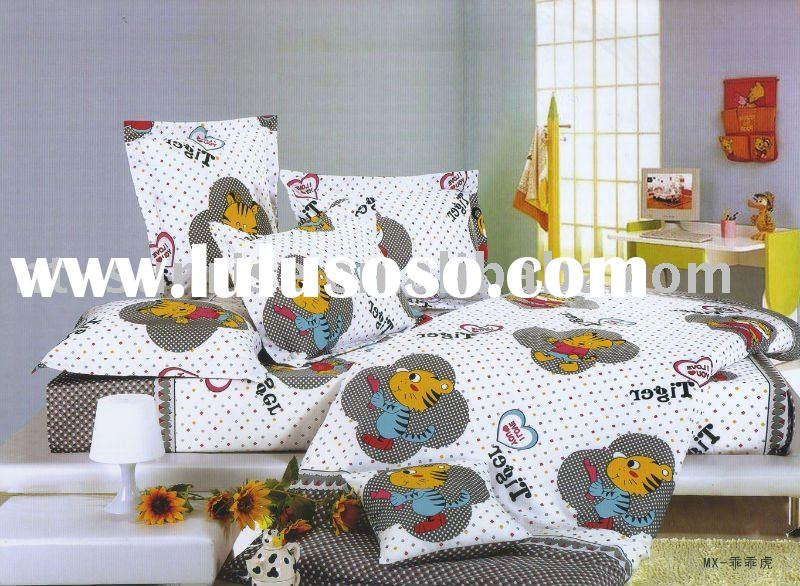 Lovely tiger design 100%cotton pigment printing 4pcs bedding set(GGH)
