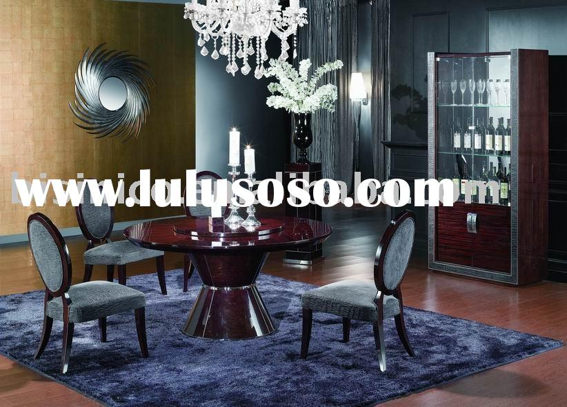 New classical solid wood dining room sets,round dining table,dining chair,wine cabinet,flower stand