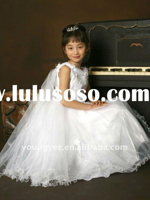 New design white nice kids evening gowns and flower girl dresses 2012 for wedding(AFG015)