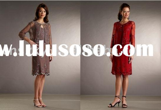 New style Hot sell Heavy Beaded Knee Length Two Piece Long Sleeve Mother dress Evening Dresses MD500