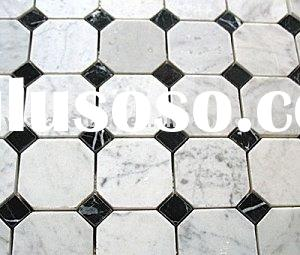 Octagon & Dot Marbel Mosaic Tile (White Statuary and Black Marquina)