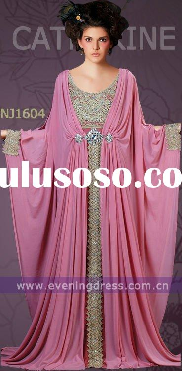 Pink Elegant Appliqued and Beaded Dubai Fashion Abaya D-NJ1604