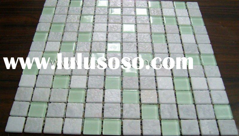 Pure White Marble+Green Glass Mosaic Wall Tiles