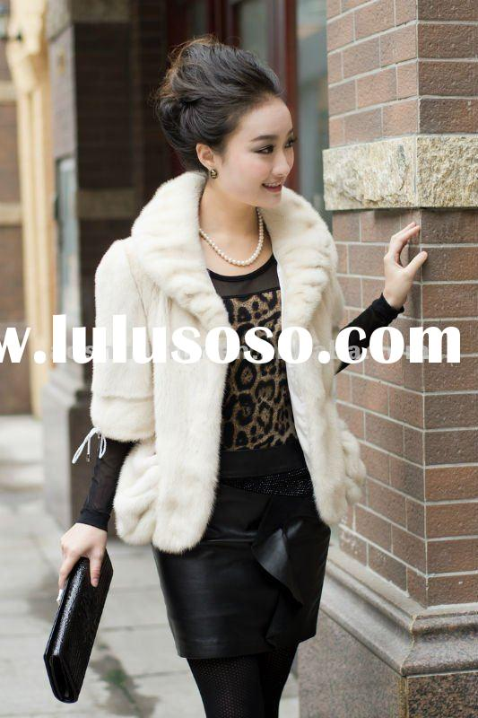 Real mink fur garment ladies,white soft fashion women mink fur coat,half sleeve fur coat.