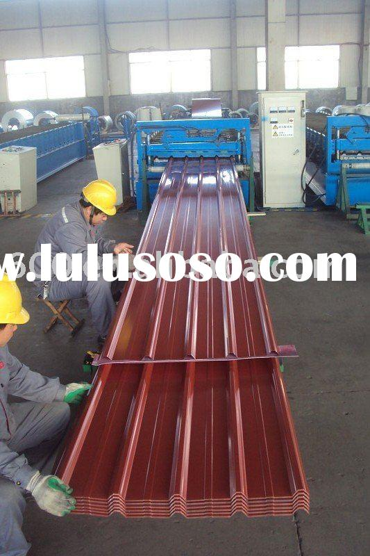 Red/blue corrugated coated galvanized steel roofing sheets YX25-205-820/1025