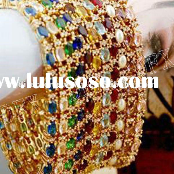 Sparkling crystal fashion costume jewelry chain gold bracelet