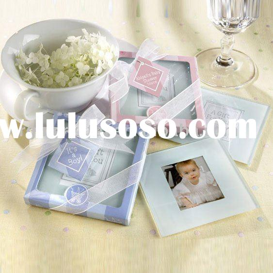 Square Glass Photo Frame Coasters Baby Shower