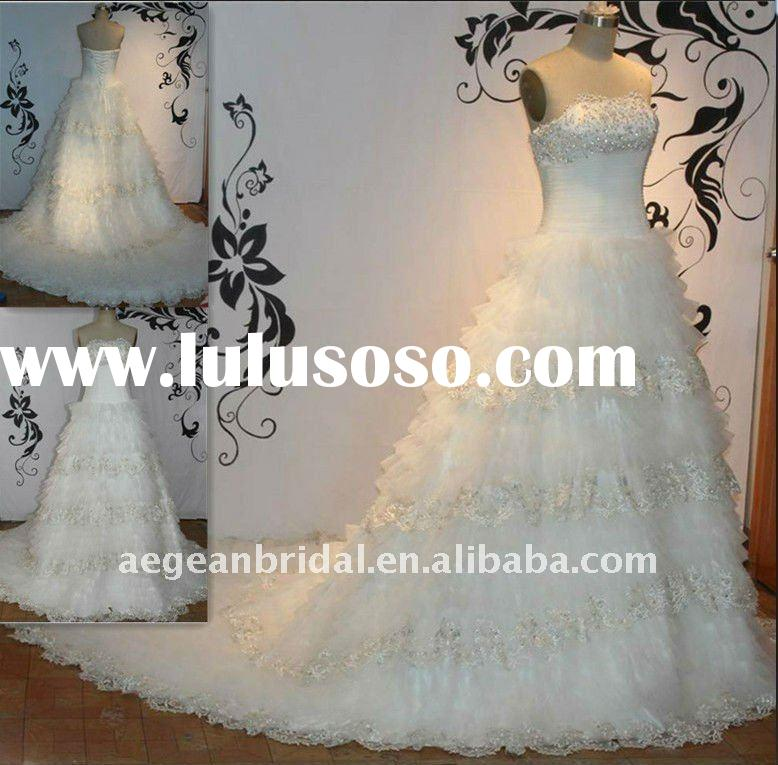 Style ZS-a0202 real sample romantic strapless cascade organza lace skirt wedding dress