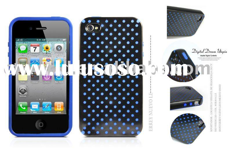 TPU soft cover for iPhone 4 with polka dots design, sharp and fashionable.