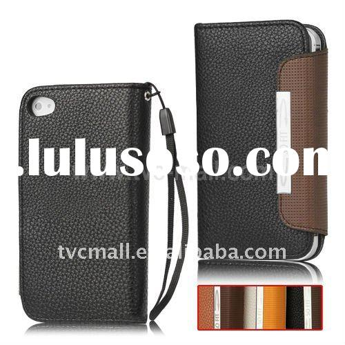 Wallet Flip Leather Case with Strap for iPhone 4 4S