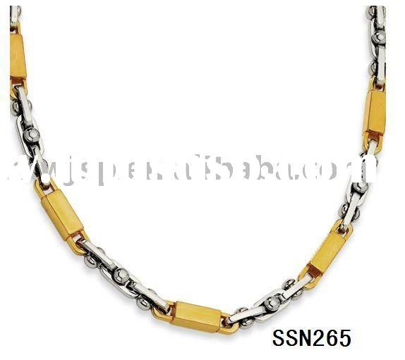 Women's Ball Link and Gold Accent stainless steel necklace