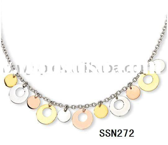 Women's Gold and Rose Plated Disk stainless steel necklace