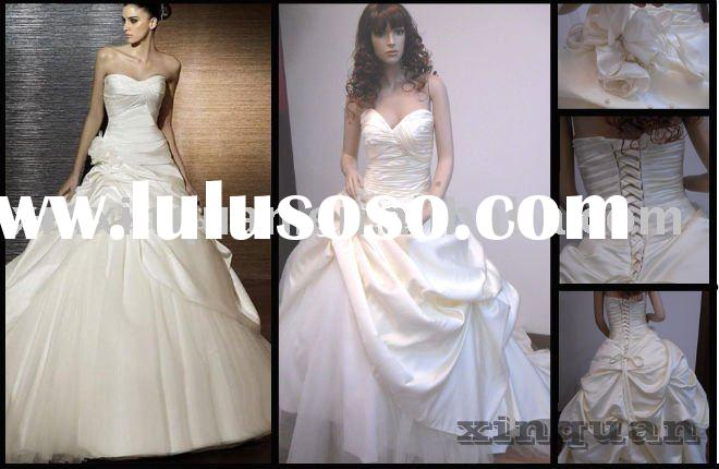 XQ013 Real photo sweetheart pleated boidce pick-up skirt ball gown haute couture real wedding dress