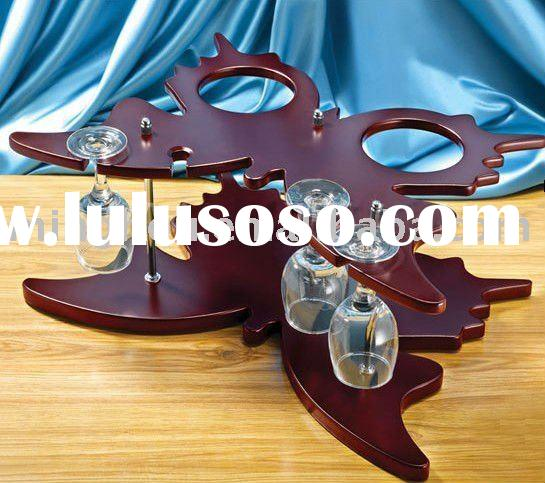 butterfly shape red wine rack with wine glass holder