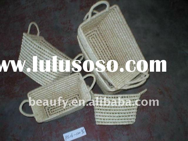 corn husk straw storage basket