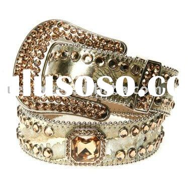 cow hide rhinestone belt with round studs and square glass drill