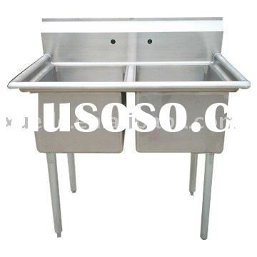 double bowl free standing stainless steel sink