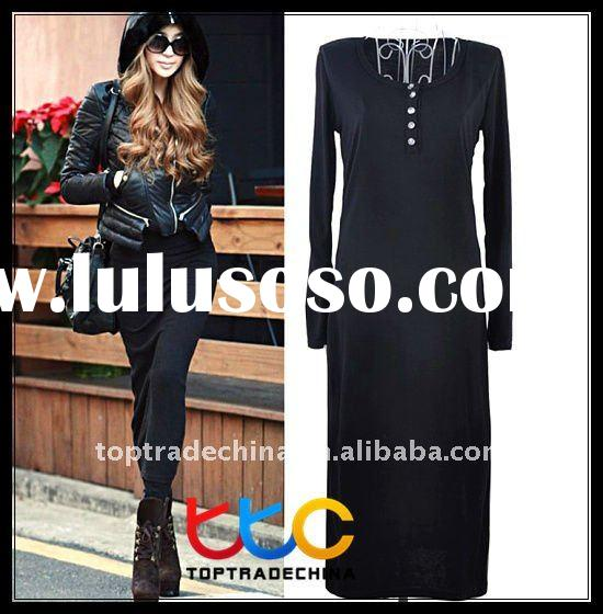 fashion long sleeve cotton maxi dress S10677 black