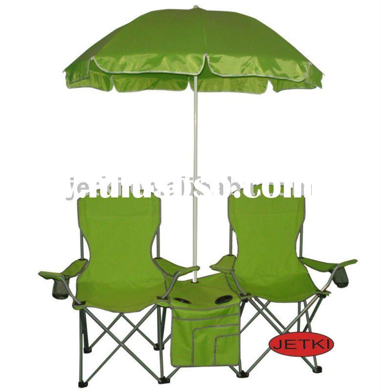 folding outdoor metal double beach camping chair w/ umbrella