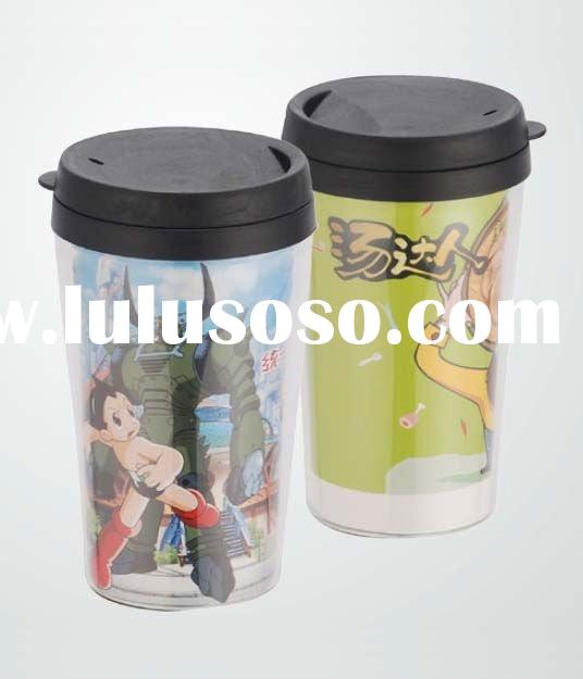 insulated double wall plastic coffee mug