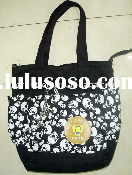 ladies' handbag; canvas bag; skull handbag