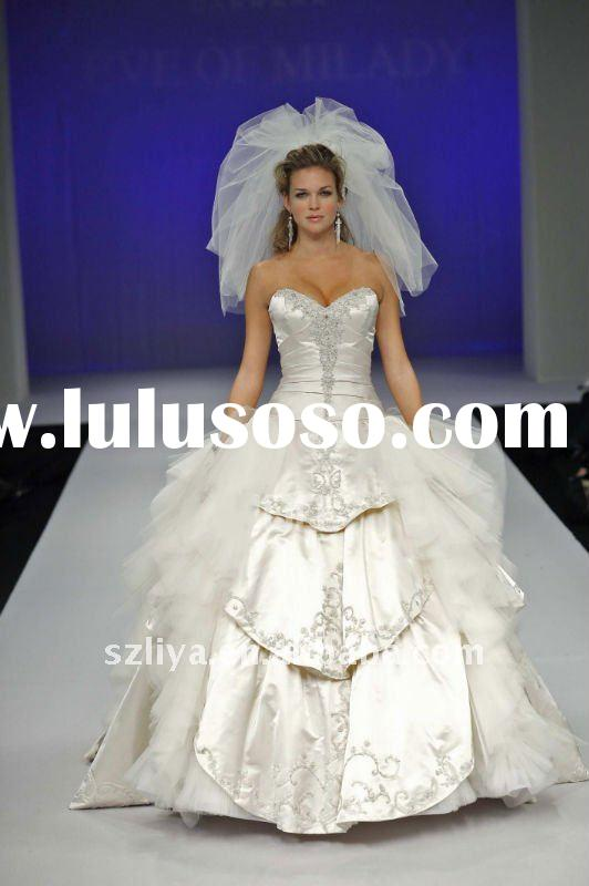 new arrival off shoulder embroidered layered ruched tight exotic wedding dress