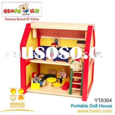 portable doll house (wooden doll house,doll house,wooden toy house)
