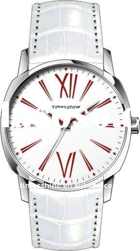 white leather band watch