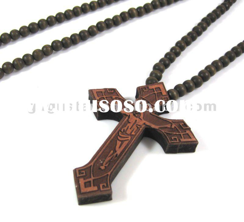 wood beaded pendant necklace in cross shape brown color