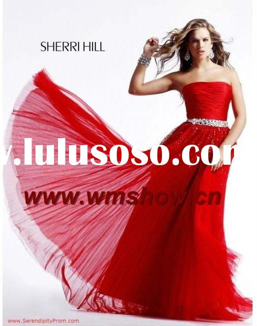 2011 Latest Modern Strapless Ruffle Red Zuhair Murad Evening Dresses Prices