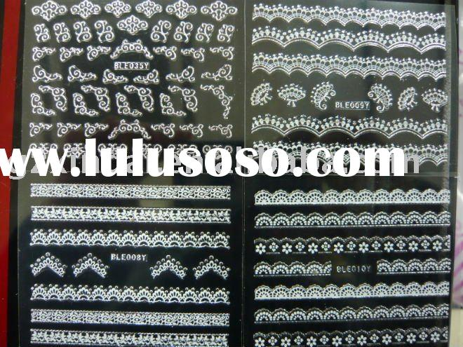 2011 New design lace nail sticker 3d nail stickers lace nail sticker