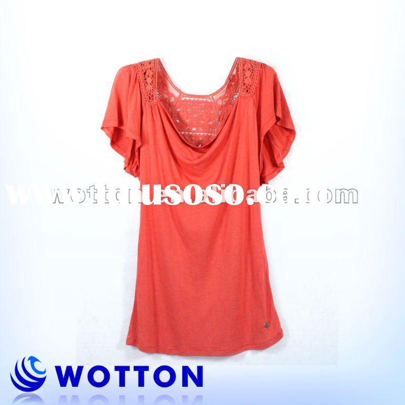 2011 fashion lady blouse with crochet lace on back