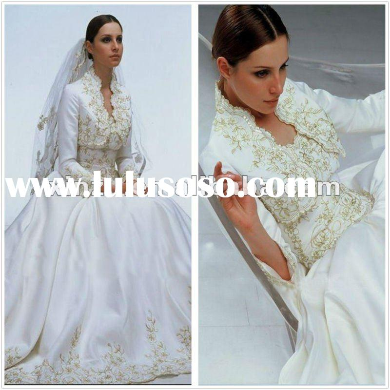 2012 Elegant Long Sleeve Embroidery Muslim Wedding Dress
