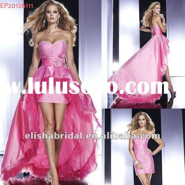 2012 Hot Pink Sweetheart Lace Slim Short Dress With Hi-low Removable Skirt Girls Party Dress