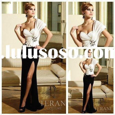 2012 One Shoulder Long Black and White Evening Dresses