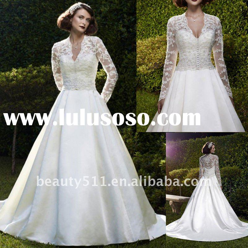 2012 Royal Design White Lace Jacket Long Sleeve Wedding Gown CAS017